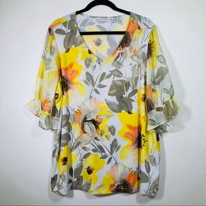 Susan Graver Yellow Floral Top
